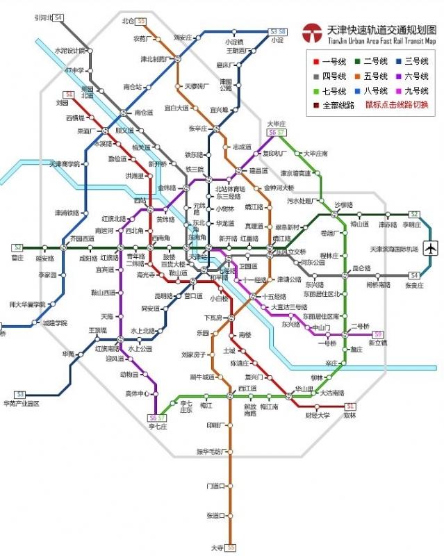 天津地铁线路规划
